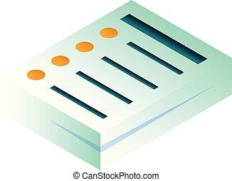 Büropapierstapel Icon, isometrische Stil