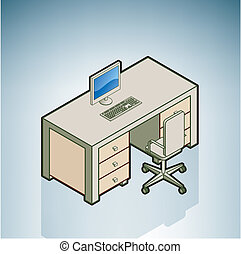 Bürotisch mit Stuhl.