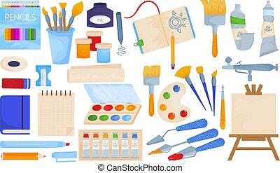 bürste, kunst, illustration., set., farbe, freigestellt, bildung, sammlung, element, weißes, palette, zeichnung, vektor, schule, bleistift, werkzeuge, kreativ
