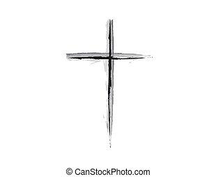 b, grunge, &, kreuz, design, w, religiöses