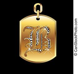 B-Medaille in Gold und Diamantenvektor