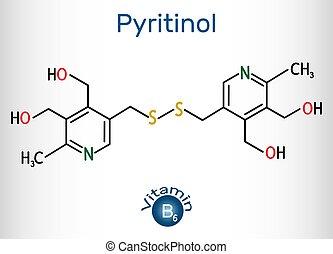 b6., modell, vitamin, formel, strukturell, chemische , molekül, pyritinol, molekül