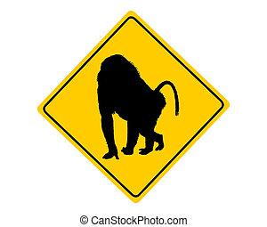 Baboon-Warnzeichen.