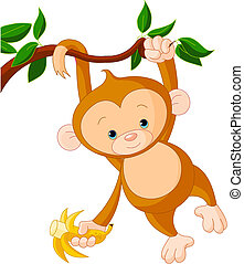 Baby-Affe auf einem Baum.
