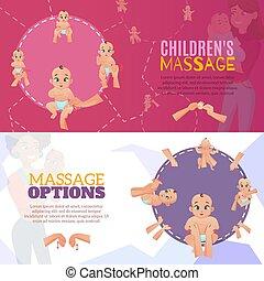 baby, banner, satz, massage