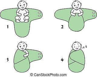 baby, blanket., gebrauch, wickeln, anweisungen