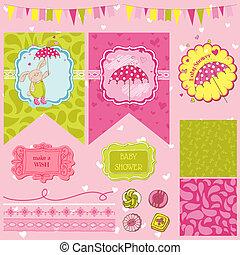 Baby Bunny Dusche Thema - Scrapbook Design Elemente - in Vektor.