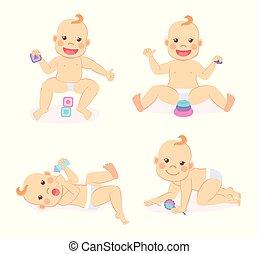 Baby, das mit geometrischen Jungen spielt