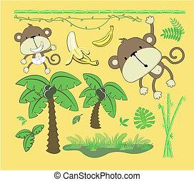 Baby Dschungel-Cartoon-Design-Elemente.
