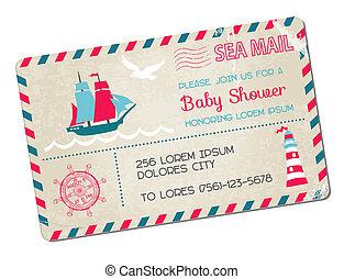 Baby-Dusche oder Ankunftskarte - nautisches Meer Thema - in Vektor.