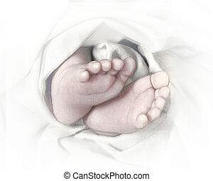 baby- füße, skizze, bleistift