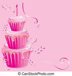 Baby Girl Geburtstags-Cupcake