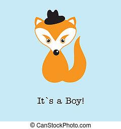 Baby-Junge Fuchs-Ansage Geburtskarte.