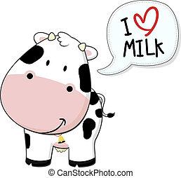 Baby Kalb ich liebe Milch.