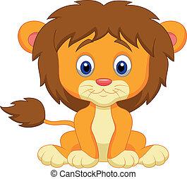 Baby-Löwen- Cartoon-Sitzung
