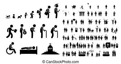 baby- leben, kind, weißes, schueler, hintergrund, menschliche , altes