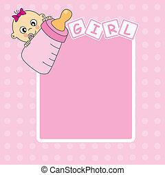 Baby-Mädchen-Ansage-Karte