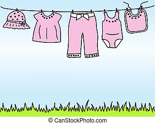 Baby-Mädchen-Kleidung an Kleidern