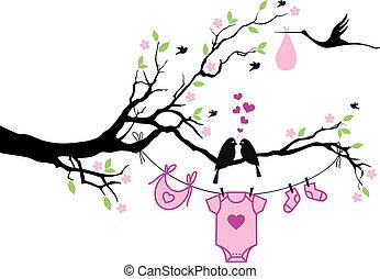 Baby-Mädchen mit Vögeln auf Baum, vecto.