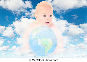 Baby mit Glaskugel auf weiß, flauschige Wolken im blauen Himmel kollabieren