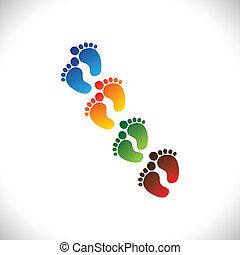 Baby- oder Kleinkindes bunter Fußschritte für den Kindergarten - Vektorgrafik. Diese Illustration kann Spielschule, Kindertagesstätte oder Vorschule von Kindern & Kleinkindern oder Kinderbetreuungseinrichtungen usw. darstellen