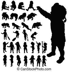 Baby-Süße, posierende schwarze Vektor-Silhouette