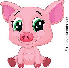 baby, schwein, karikatur, reizend