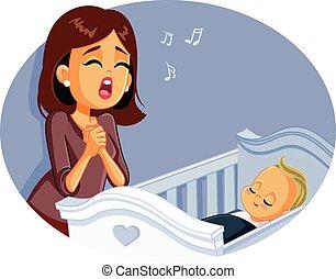 baby, singende, mutter, wiegenlied, schlaf