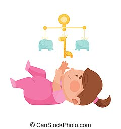 baby- spielzeug, schauen, m�dchen, rasseln, auf, abbildung, liegen, vektor, boden