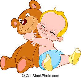baby, umarmung, bär
