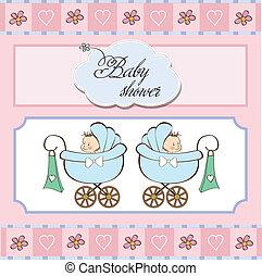 Baby Zwillinge Duschkarte