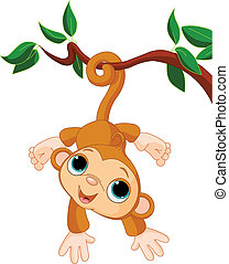 Babyaffe auf einem Baum