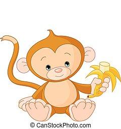 Babyaffen essen Bananen