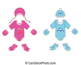 Babykleider für Junge und Mädchen in Vektor.