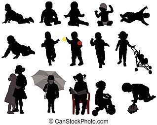 Babys und Kleinkinder Silhouetten.