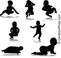 Babyvektor-Silhouettes