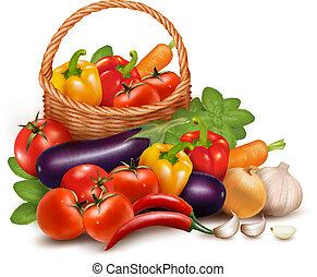 Background mit frischem Gemüse im Korb. Gesundes Essen. Vektor Illustration