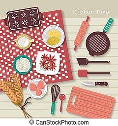 Backzutaten auf dem Küchentisch in flachem Design.