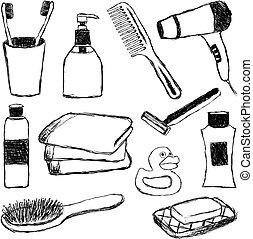 Badezimmer-Doodle-Sammlung