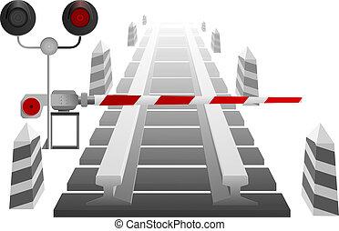 Bahnübergang mit einer Barriere A