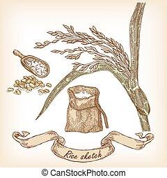 Bakery Sketch. Hand gezeichnete Illustration von Reis, Beutel und Getreide