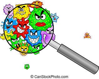 Bakterien unter einer Lupe.
