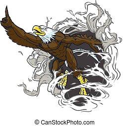 Bald Adlermaskottchen reißt den Hintergrund