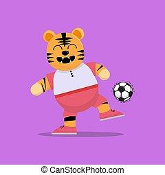 ball spieler, tiger, tritt, fußball, reizend
