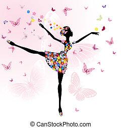 Ballerina-Mädchen mit Blumen mit Schmetterlingen