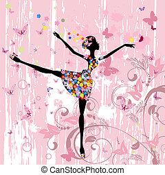 Ballerina Mädchen mit Blumen mit Schmetterlingen Grunge.