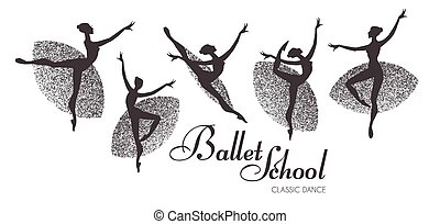 Ballerina Silhouetten bereit. Tanzende Mädchen. Klassischer Tanz.