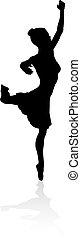 Balletttänzer tanzen Silhouette.