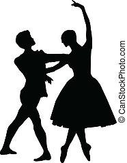 Balletttänzerin und Junge Silhouett
