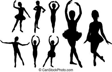 Balletttänzerinnen tanzen Silhouette